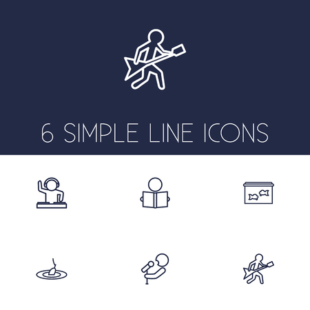 sinker: Set Of 6 Hobbie Outline Icons Set.Collection Of Musician, Aquarium, Fishing And Other Elements.