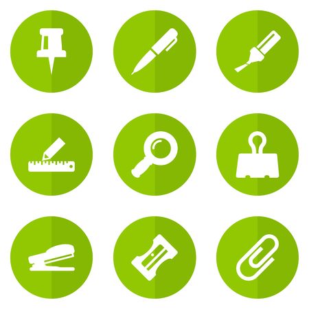 stapled: Set Of 9 Instruments Icons Set.Collection Of Pushpin, Pencil, Clip And Other Elements. Illustration