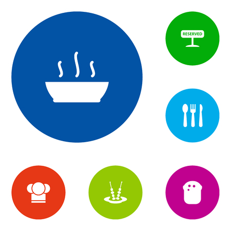 Set Of 6 Restaurant Icons Set.Collection Of Registered, Chef, Canape And Other Elements.