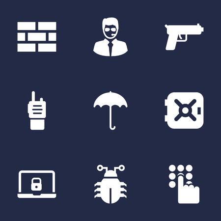 aegis: Set Of 9 Safety Icons Set.Collection Of Security Man, Remote, Insurance And Other Elements.