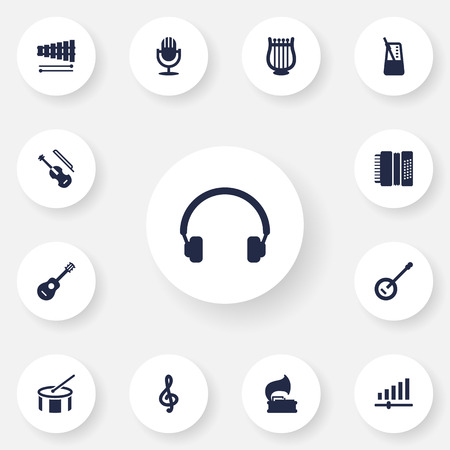 Set Of 13 Song Icons Set.Collection Of Karaoke, Knob, Quaver And Other Elements.