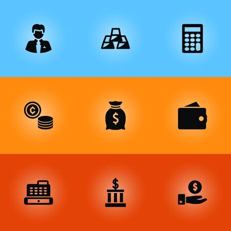 Set Of 9 Finance Icons Set.Collection Of Ingot, Cash, Cashbox And Other Elements.