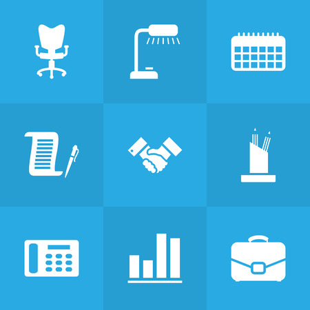 calendar icon: Set Of 9 Bureau Icons Set.Collection Of Diplomat, Handshake, Table Lighter Elements.