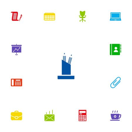 office building: Set Of 13 Cabinet Icons Set.Collection Of Pencil Stand, Clip, Contract Elements. Illustration