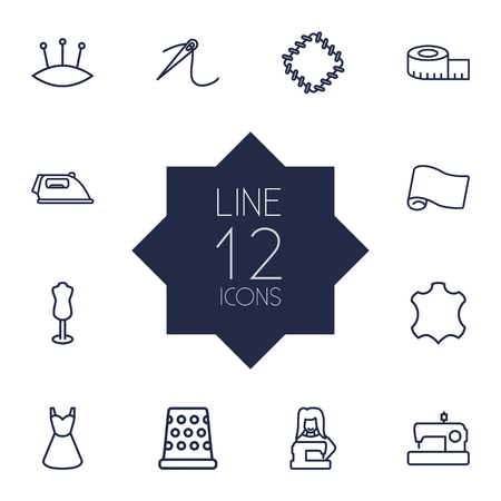 Set Of 12 Stitch Outline Icons Set.Collection Of Tremble, Patch, Sewing And Other Elements. Illustration