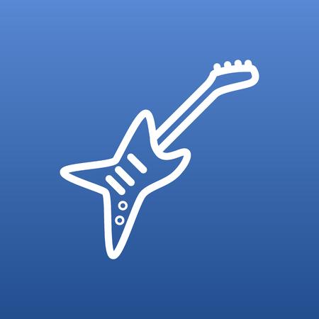きれいな背景に分離ギター アウトライン記号。トレンディなスタイルの電気要素をベクトルします。  イラスト・ベクター素材