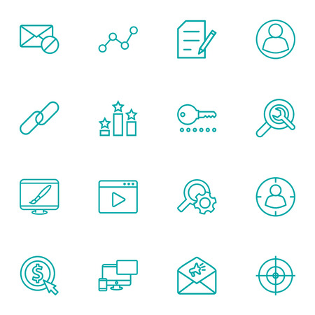 Set Of 16 Search Outline Icons Set.Collection Of Copyright, Search, Video Marketing And Other Elements. Ilustração