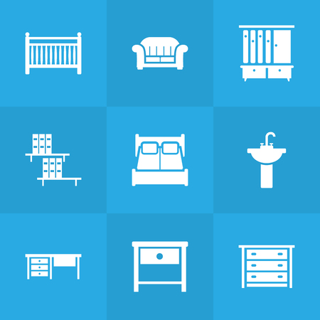 modern bathroom: Set Of 9 Set Icons Set.Collection Of Couch, Commode, Worktop And Other Elements. Illustration