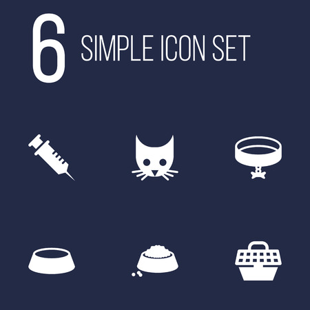Set Of 6 Animals Icons Set.Collection Of Cat , Neckband , Injection Elements.