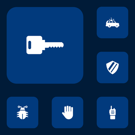 Set Of 6 Security Icons Set.Collection Of Hand , Remote , Open Elements. Çizim