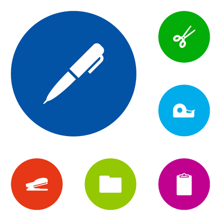 Set Of 6 Stationery Icons Set.Collection Of Puncher, Sticky, Clippers And Other Elements.