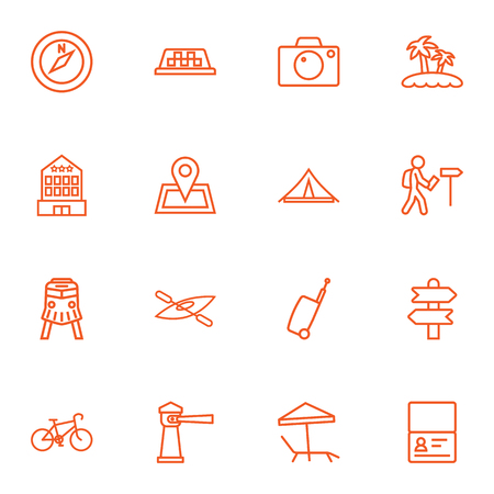 Set Of 16 Travel Outline Icons Set.Collection Of Certificate, Building, Palm And Other Elements.