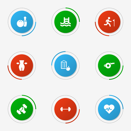 Set Of 9 Fitness Icons Set.Collection Of Slimming, Hartbeat, Dumbbell And Other Elements.
