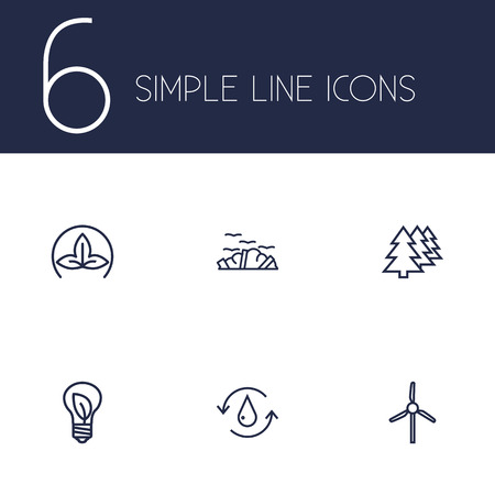 Set Of 6 Ecology Outline Icons Set.Collection Of Eco, Charge, Wind Turbine And Other Elements.