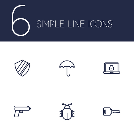 keywords: Set Of 6 Safety Outline Icons Set.Collection Of Parasol, Weapon, Lock And Other Elements.