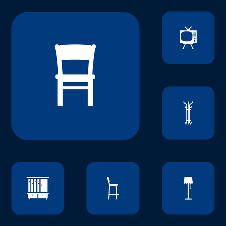 lcd display: Set Of 6 Set Icons Set.Collection Of Stool, Coat Stand, Chair Elements.