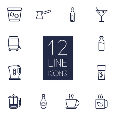 ferment: Set Of 12 Drinks Outline Icons Set.Collection Of Champagne, Bottle, Dairy And Other Elements.