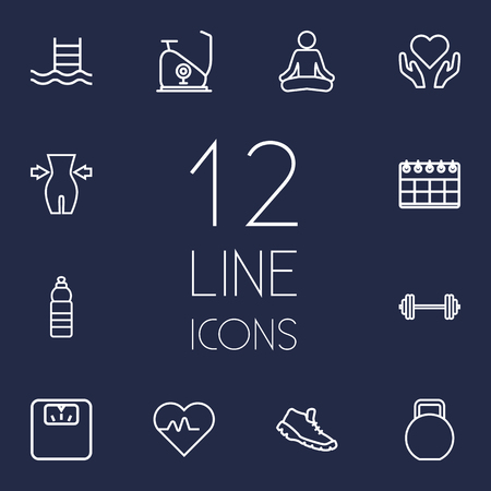 Set Of 12 Training Outline Icons Set.Collection Of Barbell, Exercise Bike, Water Bottle And Other Elements. Illustration