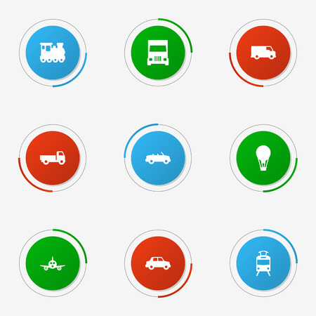 Set Of 9 Transport Icons Set.Collection Of Wagon, Coupe, Airship And Other Elements.