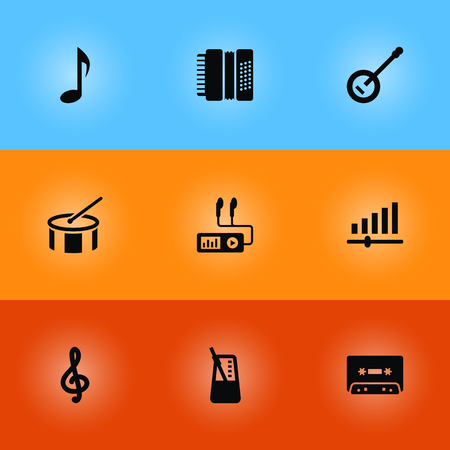 Set Of 9 Song Icons Set.Collection Of Harmonica, Tambourine, Tape And Other Elements.