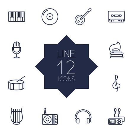 Set Of 12 Song Outline Icons Set.Collection Of Record, Fortepiano, Stringed And Other Elements.