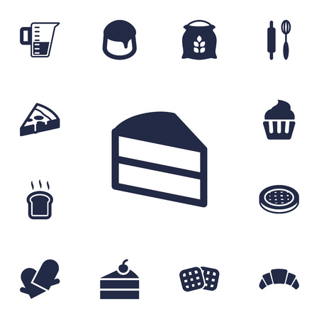 rolling bag: Set Of 13 Pastry Icons Set.Collection Of Slice Bread, Pepperoni, Cake And Other Elements. Illustration