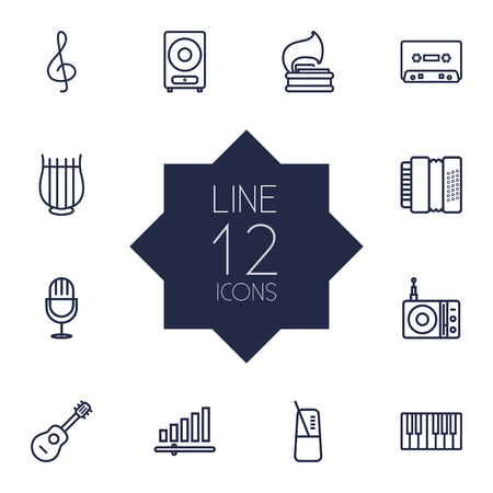 concertina: Set Of 12 Music Outline Icons Set.Collection Of Note, Acoustic, Vinyl And Other Elements.