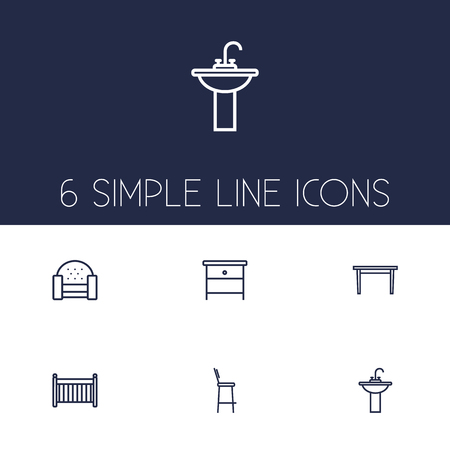 Set Of 6 Situation Outline Icons Set.Collection Of Sofa, Bar Stool, Crib And Other Elements.