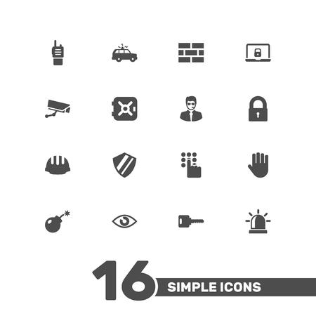 ensemble de 16 icônes de la sécurité set.collection de main , alarme , éléments de téléphone portable