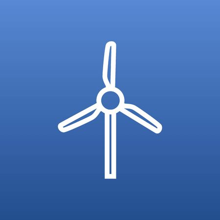 Isolated Windmill Outline Symbol On Clean Background. Vector Wind Turbine Element In Trendy Style. Illustration
