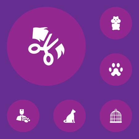 cat grooming: Set Of 6 Pets Icons Set.Collection Of Birdcage, Footprint, Sitting And Other Elements. Illustration