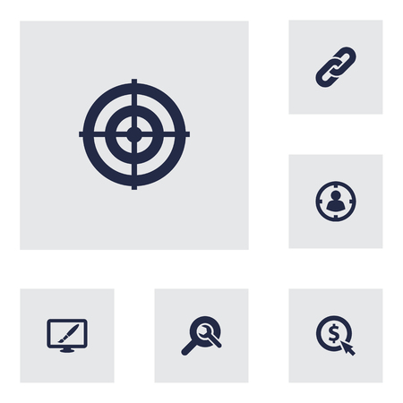 Set Of 6 Search Icons Set.Collection Of Audience, Click, Search And Other Elements. Illusztráció