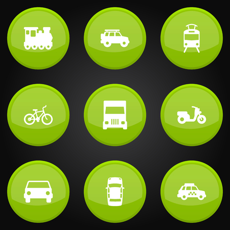 velocipede: Collection Of Streetcar, Scooter, Taxicab And Other Elements.  Set Of 9 Traffic Icons Set. Illustration