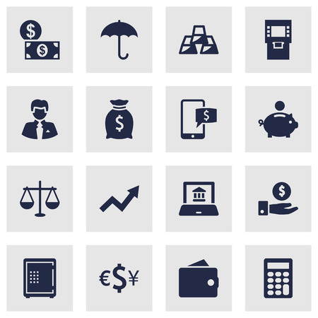 Set Of 16 Finance Icons Set.Collection Of Piggy Bank, Online Banking, Strongbox And Other Elements.