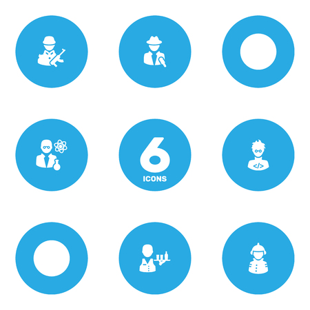 Set Of 6 Job Icons Set.Collection Of Tray, Scholarly, Fireman And Other Elements. Illustration