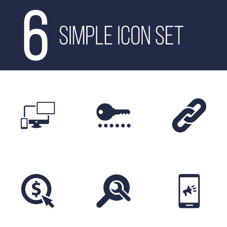 Set Of 6 Optimization Icons Set.Collection Of Search, Password, Marketing And Other Elements.
