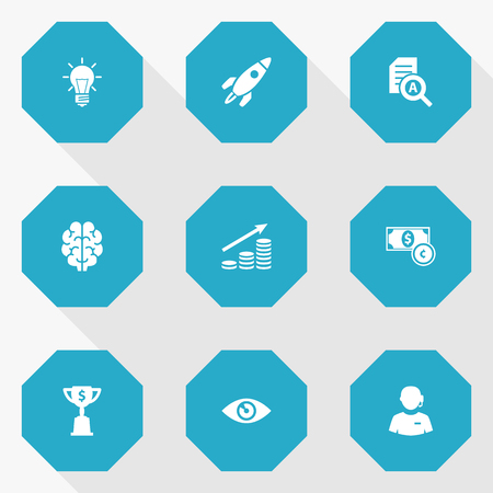 reviews: Set Of 9 Idea Icons Set.Collection Of Bulb, Currency, Vision And Other Elements.