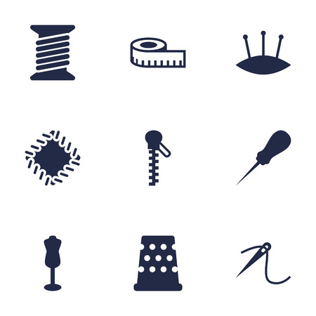 Set Of 9 Tailor Icons Set.Collection Of Meter, Eyelet, Mannequin And Other Elements.