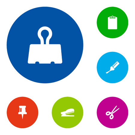 Set Of 6 Tools Icons Set.Collection Of Puncher, Pushpin, Highlighter And Other Elements.