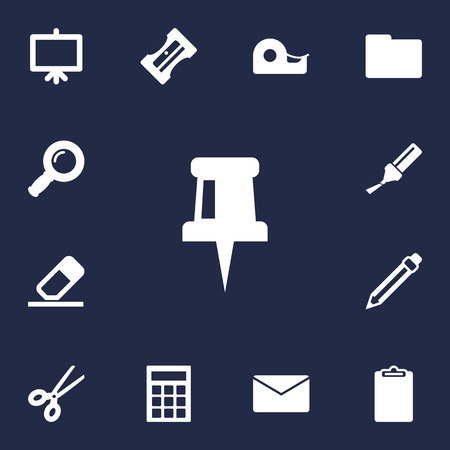 Set Of 13 Tools Icons Set.Collection Of Folder, Highlighter, Zoom Glasses And Other Elements. Illustration
