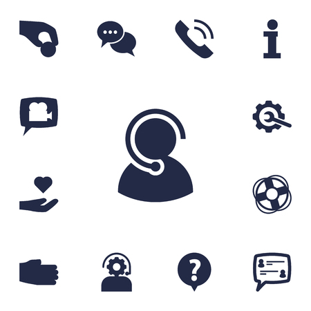 Collection Of Hand, Care; , Help Elements.  Set Of 13 Support Icons Set. Çizim