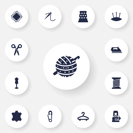 Set Of 13 Stitch Icons Set.Collection Of Pintle, Pins, Flatiron And Other Elements. Illustration