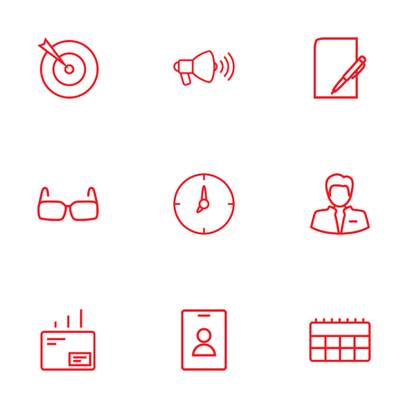 Collection Of Glasses, Mail, Badge And Other Elements.  Set Of 9 Management Outline Icons Set.