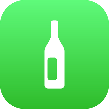 Vector Wine Element In Trendy Style.  Isolated Bottle Icon Symbol On Clean Background.