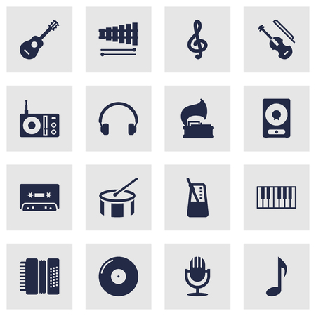 metronome: Collection Of Earphones, Percussion, Retro Disc And Other Elements.  Set Of 16 Music Icons Set. Illustration