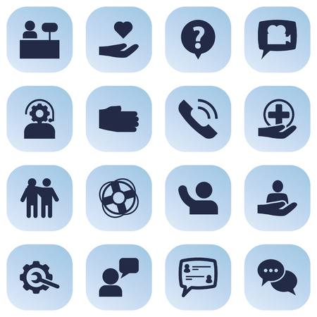 Collection Of Reception, Help, Technical And Other Elements.  Set Of 16 Support Icons Set.
