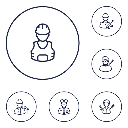 commander: Collection Of Soldier, Barber, Designer And Other Elements.  Set Of 6 Job Outline Icons Set.