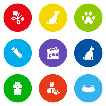 Collection Of Veterinarian, Dish, Store And Other Elements.  Set Of 9 Animals Icons Set.