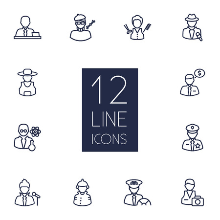 scholarly: Collection Of Singer, Reporter, Farmer And Other Elements.  Set Of 12 Job Outline Icons Set.