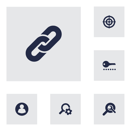 Collection Of Password, Engine, Search And Other Elements.  Set Of 6 Engine Icons Set. Illusztráció